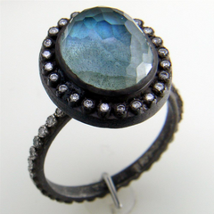 Armenta Labradorite Oval Old World Oxidized Silver Diamond Ring