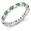 Diamond & Tsavorite Eternity Wedding Band Anniversary Ring 18K White Gold