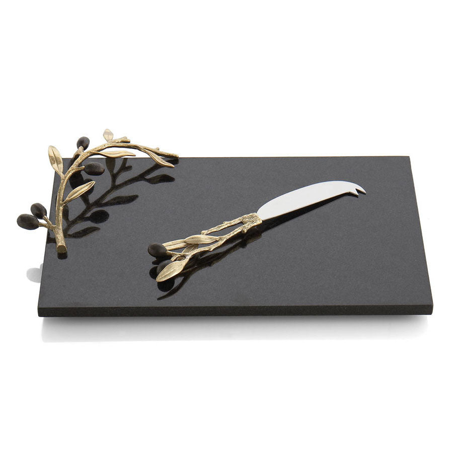 Michael Aram Olive Branch Cheeseboard and Knife