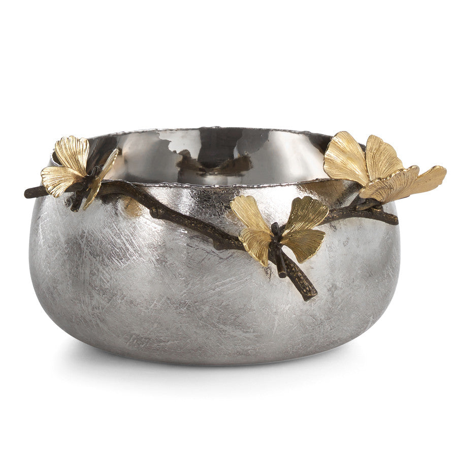 serving bowl with gingko leaf by Michael Aram