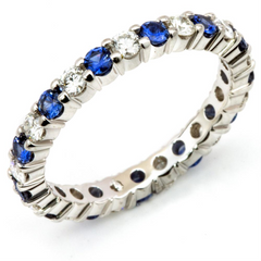 Sapphire & Diamond Eternity Wedding Band Anniversary Ring 18K