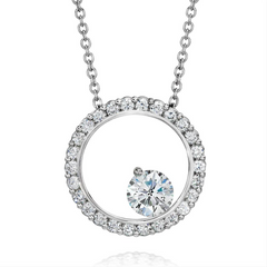 Forevermark Large Bubbles Round Circle Diamond Pendant from A. Link in 18K White Gold