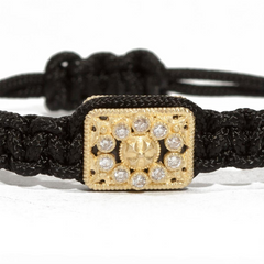 Armenta Rectangle Tablet Diamond Woven Black Pull Bracelet Yellow Gold