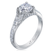 Nouveau Round Diamond Platinum Engagement Ring Pave