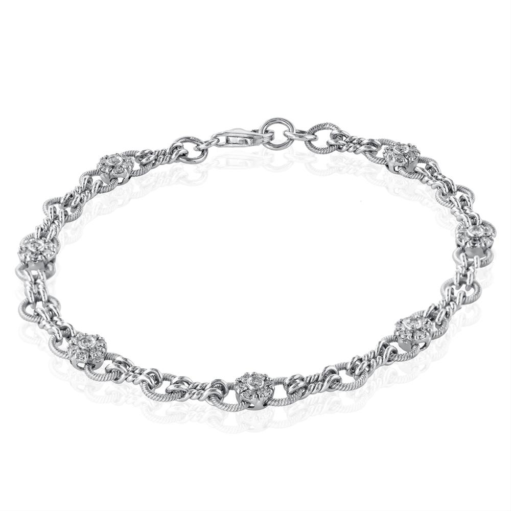 Simon G. Round Diamond Bowtie Tennis Bracelet 18K White Gold MB1539