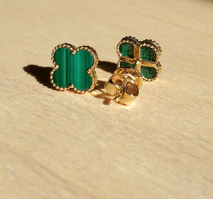 Madison L. 14K Yellow Gold Four-Leaf Clover Malachite Studs