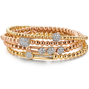 Hulchi Belluni 18K Yellow Gold Stretch Bracelet with Large Pave Diamond Ball Station