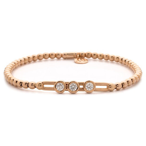 Hulchi Belluni Fidget Bracelet with Three Bezel Diamond Moveable Stations Rose Gold Stretch Stackable
