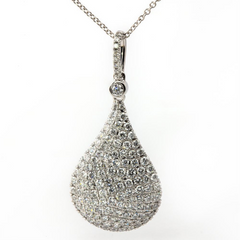 Doves Pave Diamond Teardrop Kiss Pendant Necklace