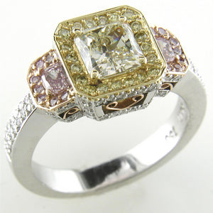 Fancy Yellow & Pink Square Diamond Platinum Engagement Ring