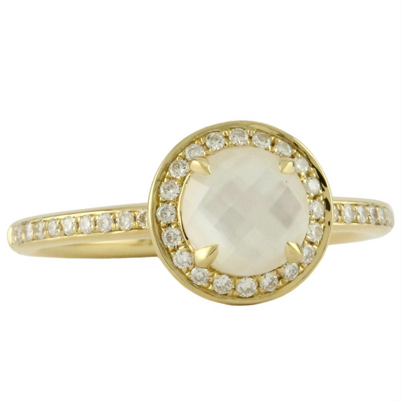 "Doves ""White Orchid"" Mother of Pearl & Diamond Ring 18K"