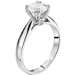 Platinum Round Diamond Engagement Ring 4 Split Prongs 1 Carat Center
