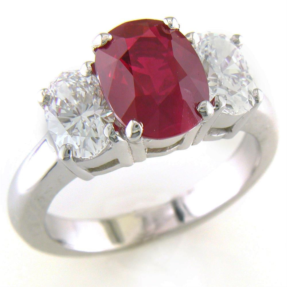 Certified Natural Burmese Oval Ruby & Diamond Three Stone Ring