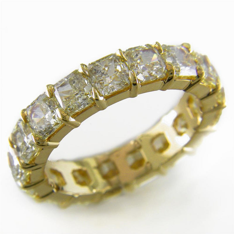 Fancy Yellow Square Cushion Diamond Eternity Band Ring 18K Gold