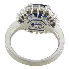Gregg Ruth Cushion Sapphire & Trapezoid Diamond Cocktail Ring