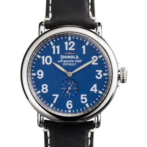 Shinola Runwell Blue Dial Black Leather Strap 41mm Watch S0110000027