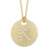 Roberto Coin Tiny Treasures Initial Diamond Disc Necklace Yellow Gold