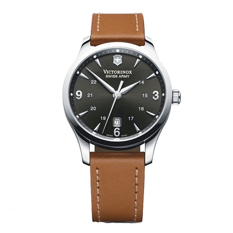 mens black dial, brown strap watch swiss army 241475