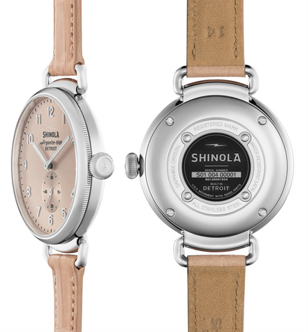 Shinola Canfield 38mm Ladies Watch  Nude Pink Dial and Leather Strap 20001934