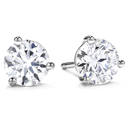 3 Prong Hearts on Fire Martini Diamond Stud Earrings in 18k White Gold