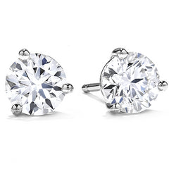 3 Prong Hearts on Fire Martini Diamond Stud Earrings .33 ctw