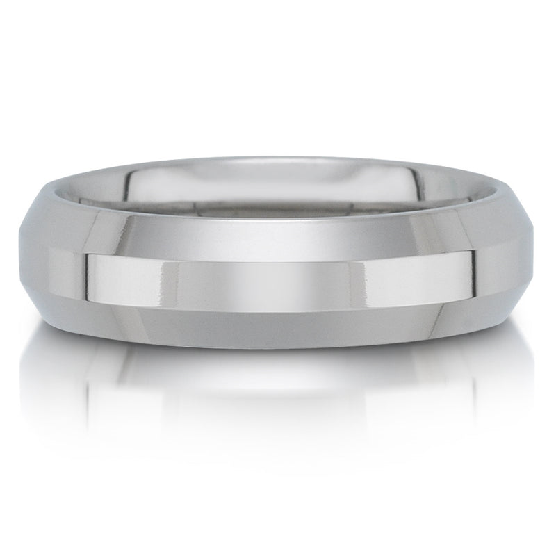 Titanium Men's 6mm Beveled Wedding Band Ring