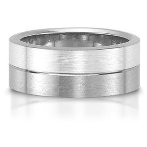 Two-Face Titanium & Silver Men's 8mm Brush Satin Finish Wedding Band Ring