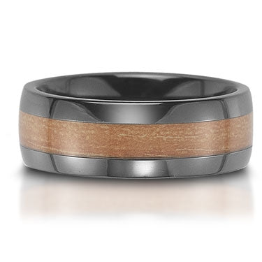 8mm Ceramic & Orange Carbon Fiber Inlay Men's Flat Wedding Band Ring