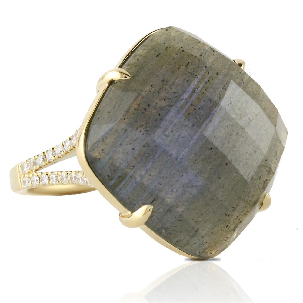 Doves Labradorite & Diamond Square 18K Yellow Gold Ring