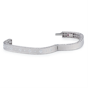 Roberto Coin White Gold Diamond Princess Slim Satin Finish Bangle Bracelet Fleur De Lis ADR777BA0551