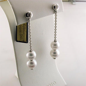 Mikimoto Pearls in Motion 7-7.5mm White Akoya Dangle Drop Diamond Earrings PEL 644DW