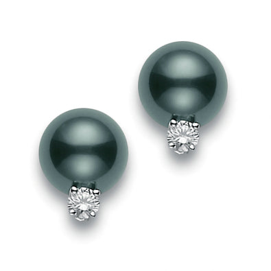 Mikimoto 8mm Black South Sea Stud Earrings with Diamonds PES 802BD W