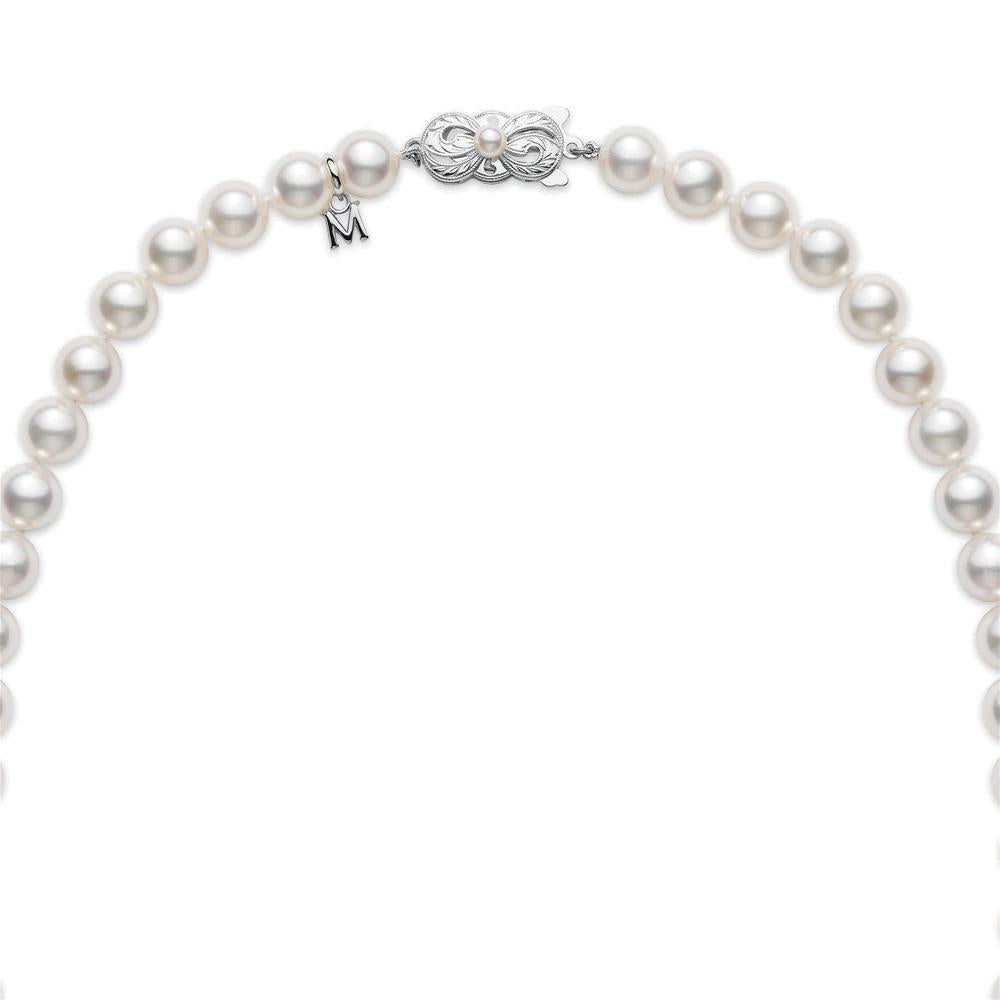 "Mikimoto Princess Akoya Pearl Necklace 18"" Strand White Gold"