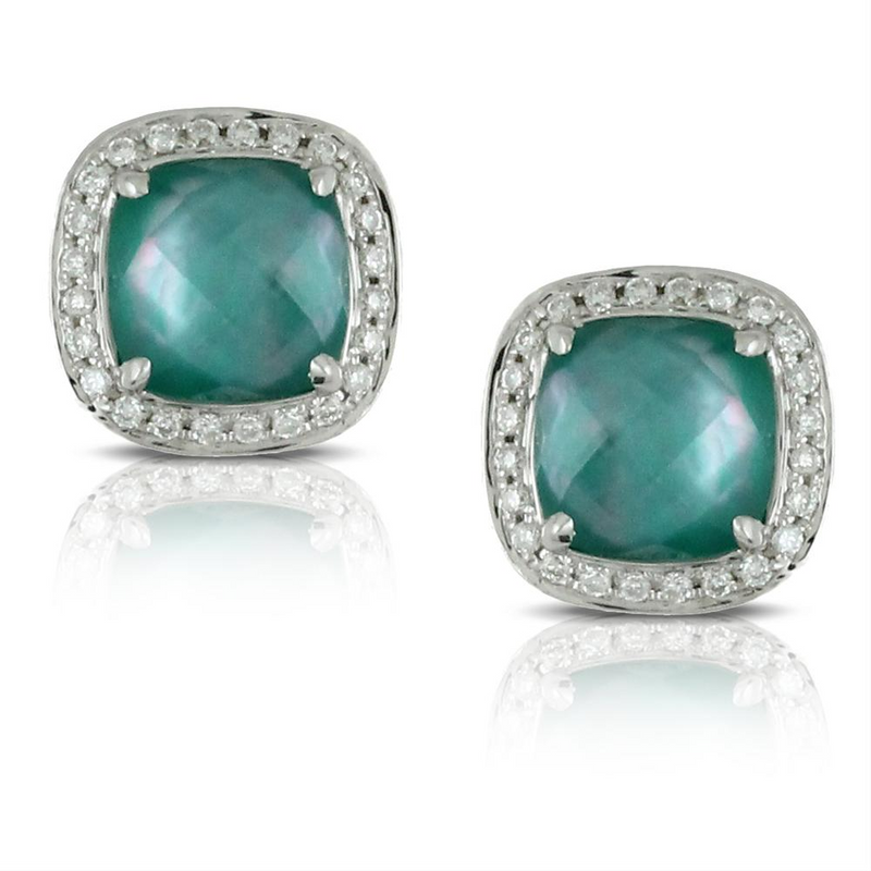 "Doves ""Cypress Grove"" Green Quartz, Mother of Pearl, & Agate Cushion Shape Stud Earrings with Diamond Halo"