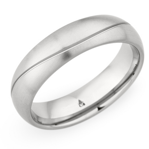 Christian Bauer Men's 14K White Gold Brushed Wedding Band Ring 6mm