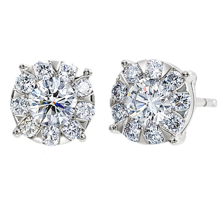 Memoire Diamond Bouquets Stud Earrings Four Prong .66ctw