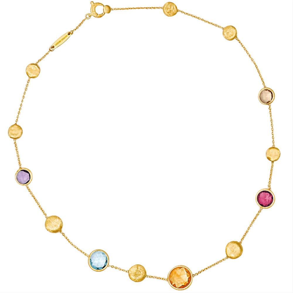 Marco Bicego Jaipur Mixed Color Gems Single Strand Yellow Gold Necklace 16""
