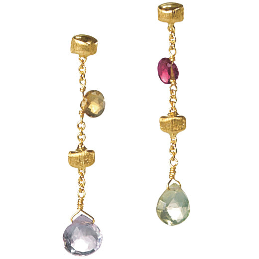 Marco Bicego Paradise Single Drop Color Gemstone Yellow Gold Earrings OB580