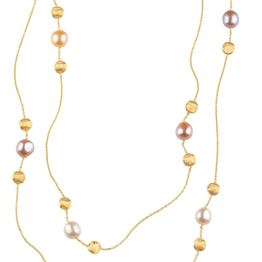 Marco Bicego Africa Pink White Pearl Yellow Gold Necklace 46""