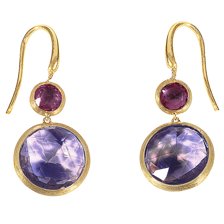 Marco Bicego Jaipur Amethyst Pink Mixed Gems Drop Yellow Gold Earrings OB900