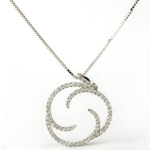 Diamond Pinwheel Circle of Life Pendant Necklace 18K White Gold