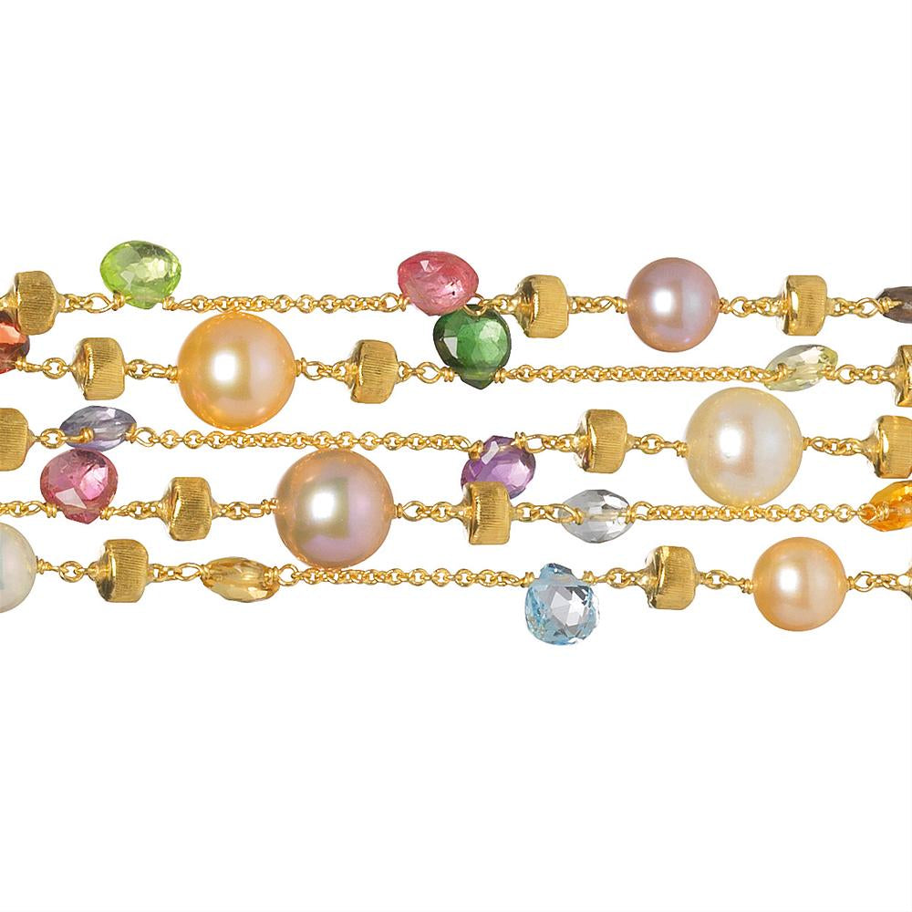 Marco Bicego Five Strand Paradise Bracelet with Pearls and Colored Stones BB1425-MIX114