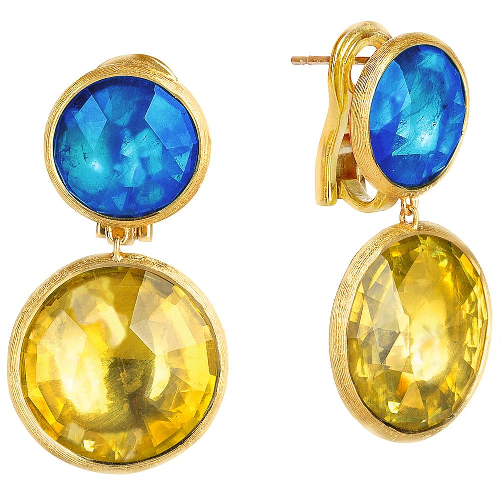 Marco Bicegi Jaipur Blue Topaz & Citrine Yellow Gold Earrings OB1042
