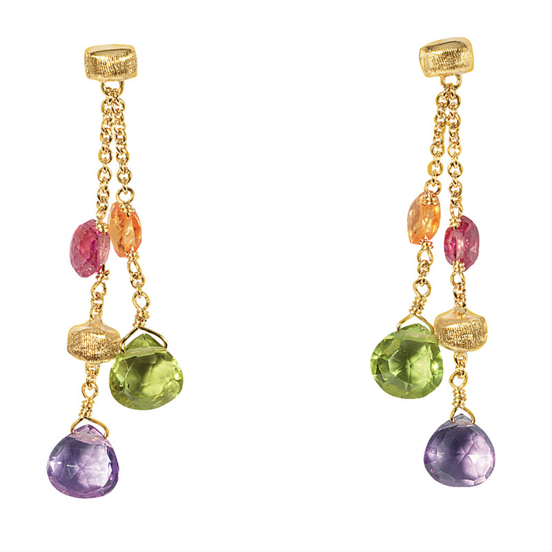 Marco Bicego Paradise Double Drop Color Gemstone Earrings OB914 MIX01
