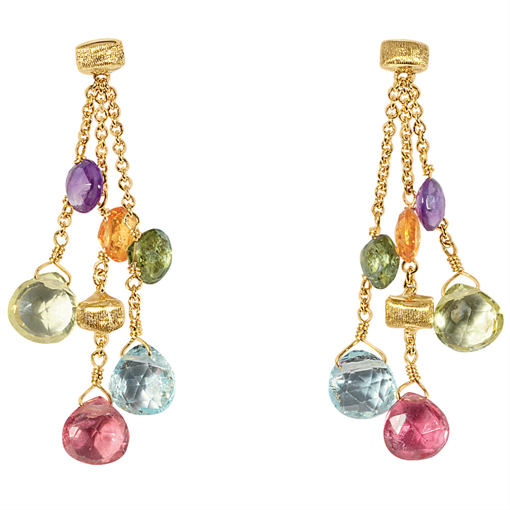 Marco Bicego Paradise Triple Drop Color Gemstone Yellow Gold  Earrings OB915