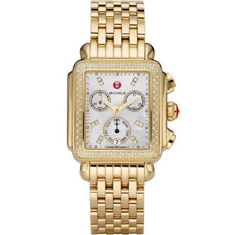 Michele Deco Chronograph Mother of Pearl Diamond Markers and Bezel Gold-Tone Watch