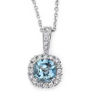 Aquamarine & Diamond Halo Pendant Necklace 14K White Gold