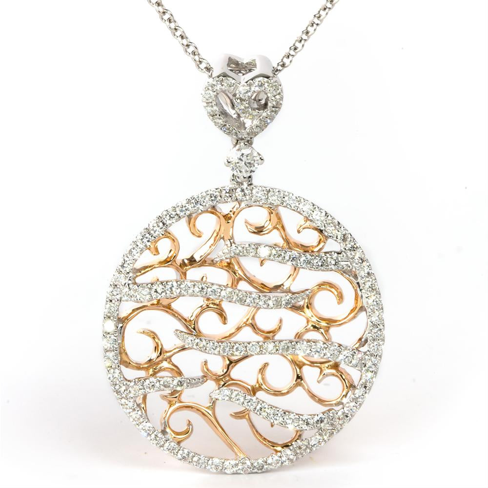 18K White & Rose Gold Filigree Vintage Style Diamond Pendant 1/2 Carat
