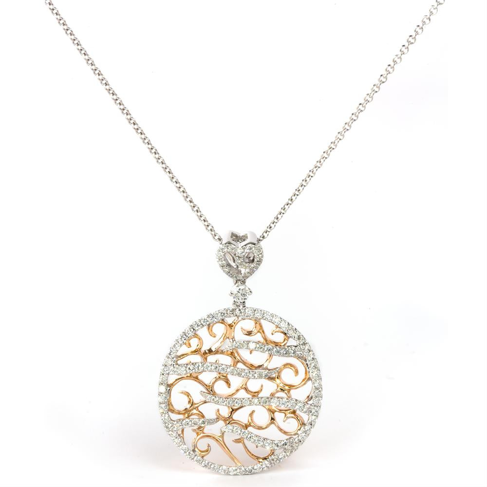 18K White & Rose Gold - Diamond Pendant 1/2 Carat
