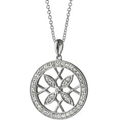 Monica Rich Kosann Sterling Silver Medallion Gate Pendant Necklace with White Sapphires